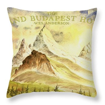 The Grand Budapest Hotel Watercolor Painting Throw Pillow