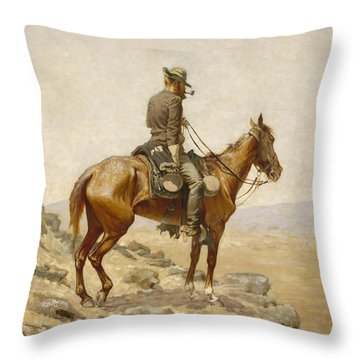 The Lookout Throw Pillow by Frederic Remington