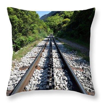 The Rack Railway In Vouraikos Gorge Throw Pillow