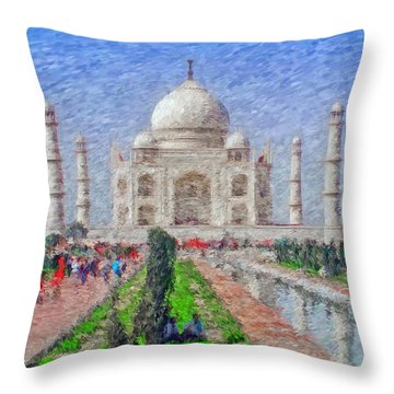 The Taj Mahal - Impressionist Style Throw Pillow