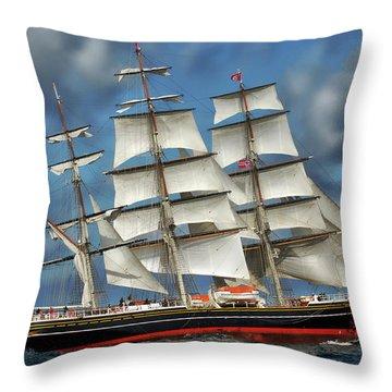 Three Mast Schooner Throw Pillow by Anthony Dezenzio