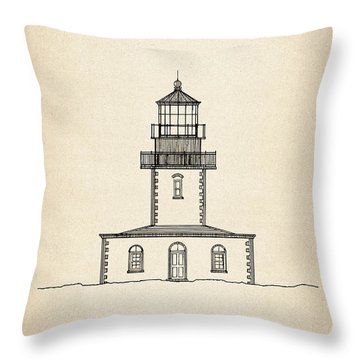Tillamook Rock Lighthouse - Oregon  - Blueprint Drawing Throw Pillow