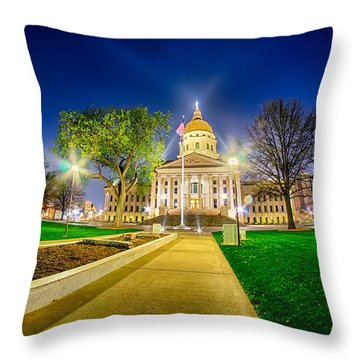 Topeka Kansas Downtown At Night Throw Pillow