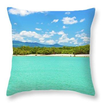 Tortuga Bay Beach At Santa Cruz Island In Galapagos  Throw Pillow