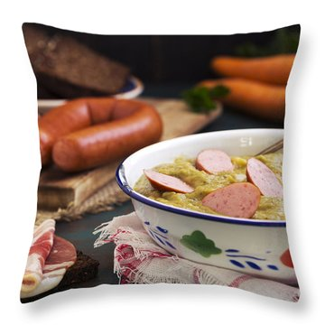 Traditional Dutch Pea Soup And Ingredients On A Rustic Table Throw Pillow