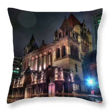 Throw Pillow featuring the photograph Trinity Church - Copley Square Boston by Joann Vitali
