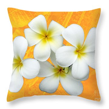 Tropical Frangrapani II Throw Pillow by Karen Lewis
