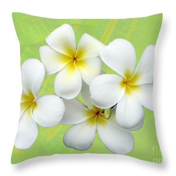 Tropical Frangrapani Throw Pillow by Karen Lewis