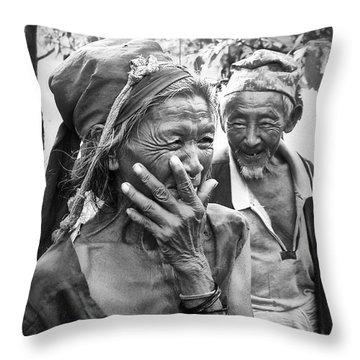 Women In Nepal Throw Pillows