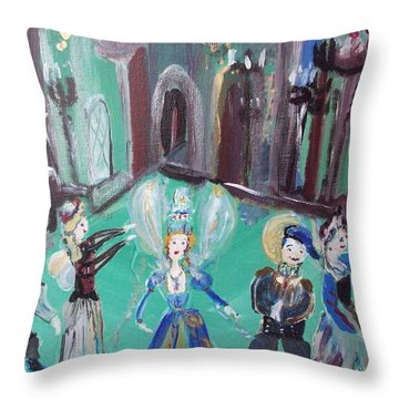 Tudor Fairies Throw Pillow by Judith Desrosiers