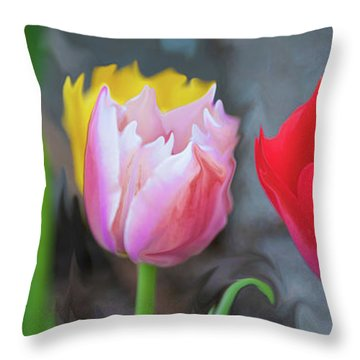Throw Pillow featuring the digital art Tulips by Cristina Stefan