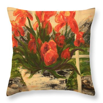 Throw Pillow featuring the painting Tulips by Nancy Czejkowski