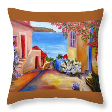 Tuscany Village  Throw Pillow by Mary Jo Zorad