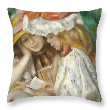 Two Girls Reading Throw Pillow