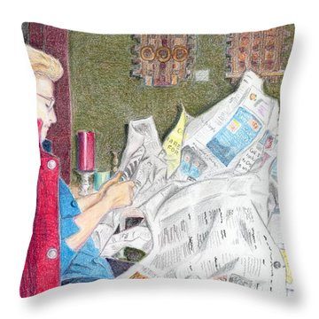Throw Pillow featuring the drawing Unwrap by Yoshiko Mishina