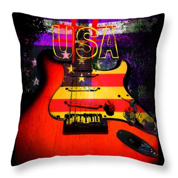 Red Usa Flag Guitar  Throw Pillow