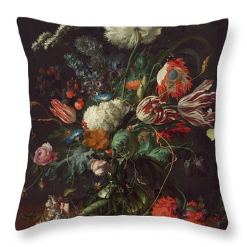Vase Of Flowers Throw Pillow by Jan Davidsz de Heem