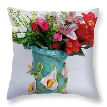 Vase, Rose Calla Throw Pillow