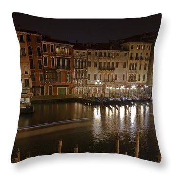 Venice By Night Throw Pillow by Joana Kruse