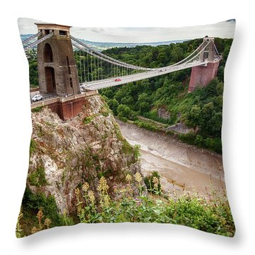 Throw Pillow featuring the photograph view at Bristol bridge by Ariadna De Raadt