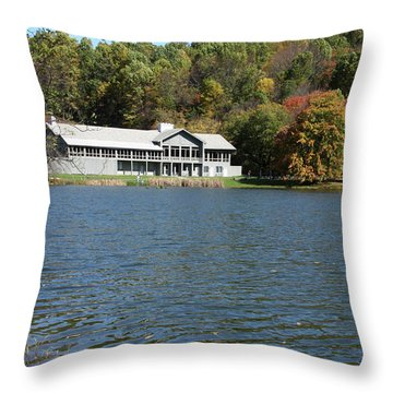 View Of Peaks Of Otter Lodge And Abbott Lake  In Autumn Throw Pillow