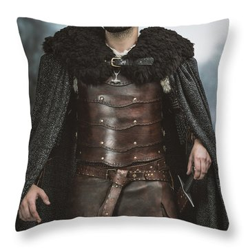 Viking Warrior With Sword Throw Pillow