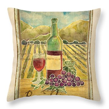 Vineyard Pinot Noir Grapes N Wine - Batik Style Throw Pillow by Audrey Jeanne Roberts
