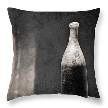 Vintage Beer Bottle Throw Pillow by Andrey  Godyaykin