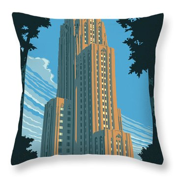 Pittsburgh Poster - Vintage Style Throw Pillow
