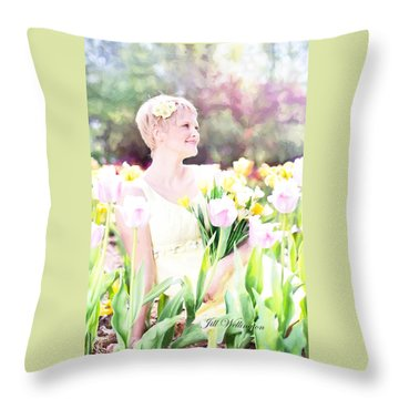 Vintage Val Spring Tulips Throw Pillow