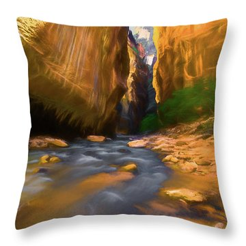 Virgin River - Zion National Park Watercolor Throw Pillow