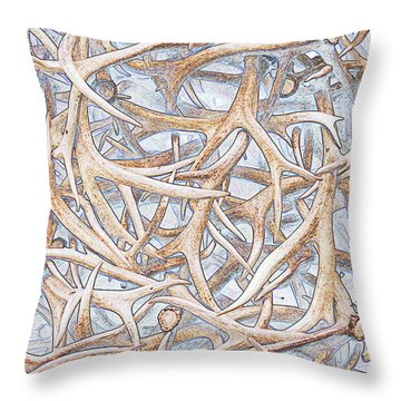 Weathered Elk Antlers Throw Pillow