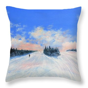 Throw Pillow featuring the painting West Meadow by Ken Ahlering