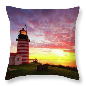 West Quoddy Head Light Throw Pillow