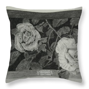 2 White Roses Throw Pillow