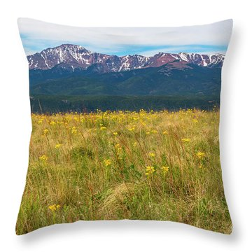 Wildflowers And Pikes Peak Throw Pillow