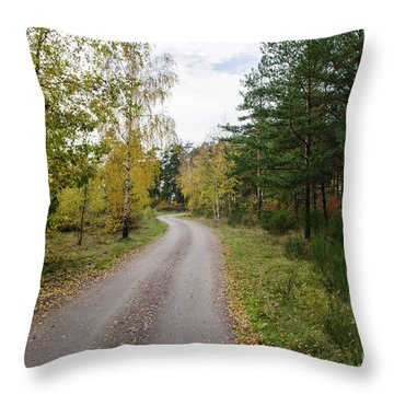 Throw Pillow featuring the photograph Winding Gravel Road by Kennerth and Birgitta Kullman