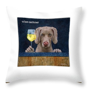 Wine-maraner Throw Pillow by Will Bullas