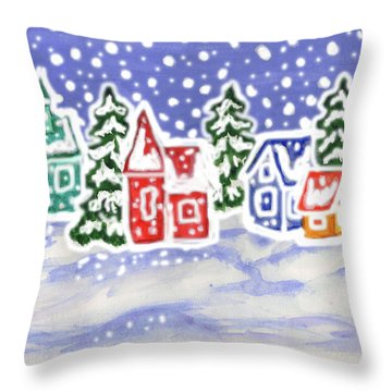 Winter Landscape With Multicolor Houses, Painting Throw Pillow