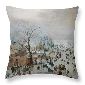 Winter Landscape With Skaters Throw Pillow