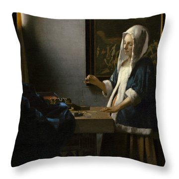 Woman Holding A Balance Throw Pillow