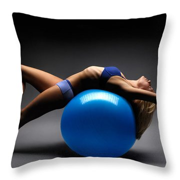 Woman On A Ball Throw Pillow by Oleksiy Maksymenko