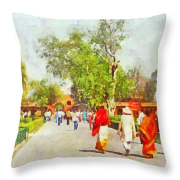 Women In Saris Throw Pillow