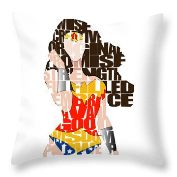 Wonder Woman Inspirational Power And Strength Through Words Throw Pillow