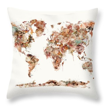 Throw Pillow featuring the painting World Map Watercolor by Bri B