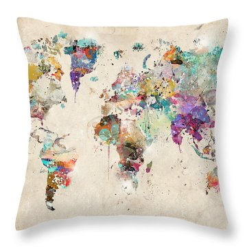 World Map Watercolor Throw Pillow