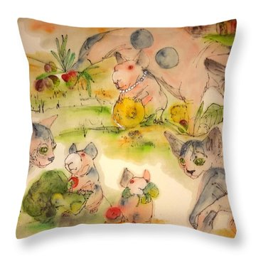 World Of Guinea Pigs And Naked Cats Album Throw Pillow by Debbi Saccomanno Chan