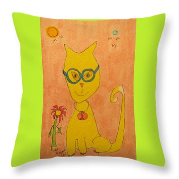 Yellow Cat With Glasses Throw Pillow