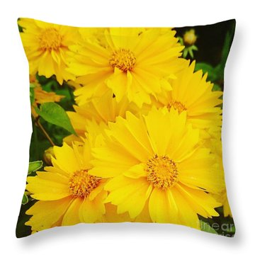 Yellow Flowers  Throw Pillow by Sobajan Tellfortunes