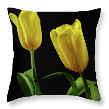 Throw Pillow featuring the photograph Yellow Tulips by Dariusz Gudowicz